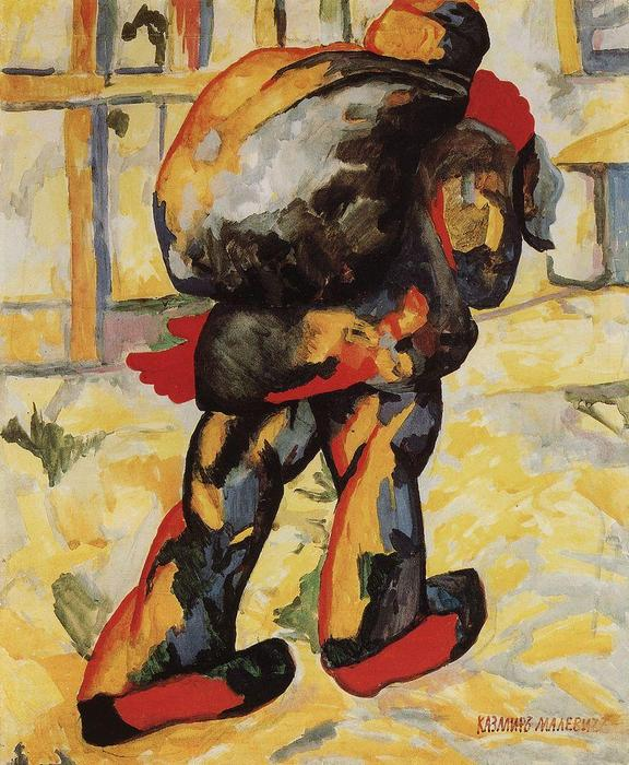The man with the bag by Kazimir Severinovich Malevich (1879-1935, Ukraine) | Oil Painting | ArtsDot.com