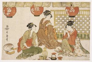 Kitagawa Utamaro - Three Seated Ladies with Lanterns