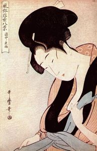 Kitagawa Utamaro - Woman in bedroom on rainy night
