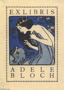 Koloman Moser - Exlibris Adele Bloch - Bookplate with princess and frog