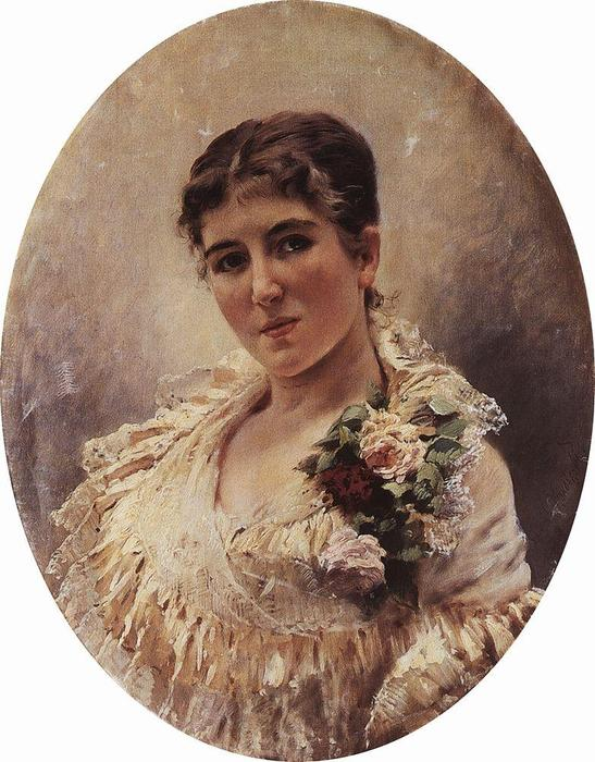 Female Portrait by Konstantin Yegorovich Makovsky (1839-1915, Russia)