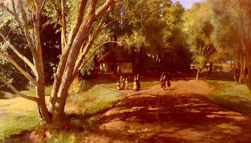 Summer Afternoon, Oil On Canvas by Konstantin Yegorovich Makovsky  (buy Fine Art Framed Print Konstantin Yegorovich Makovsky)
