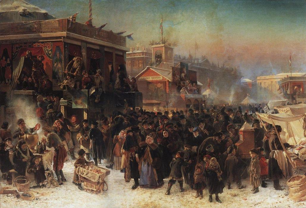 Fair Booths on Admiralty Square, St. Petersburg, Oil On Canvas by Konstantin Yegorovich Makovsky (1839-1915, Russia)