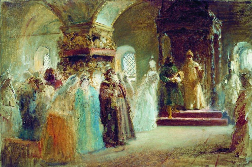 Tsar Alexei Michaylovich choosing a bride, Oil On Canvas by Konstantin Yegorovich Makovsky (1839-1915, Russia)
