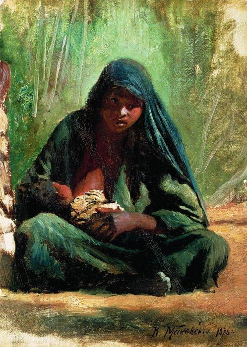 Egyptian with a child, 1876 by Konstantin Yegorovich Makovsky (1839-1915, Russia)