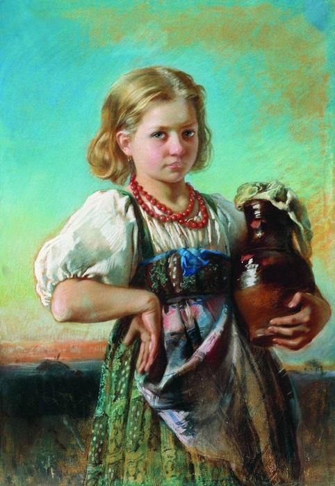 Girl with Jug, 1880 by Konstantin Yegorovich Makovsky (1839-1915, Russia)