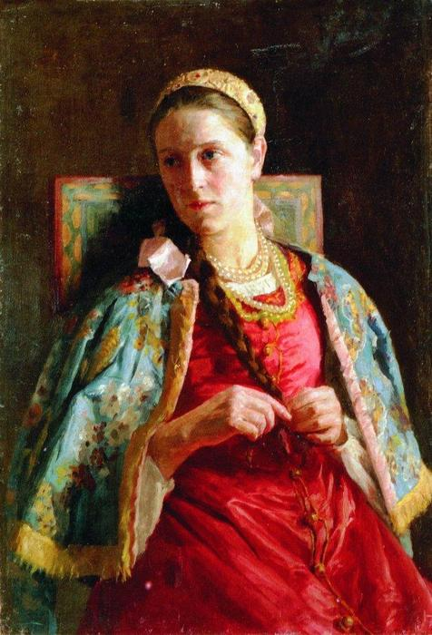 Portrait of the Young Lady in Russian Costume, 1880 by Konstantin Makovsky (1839-1915, Russian Empire)
