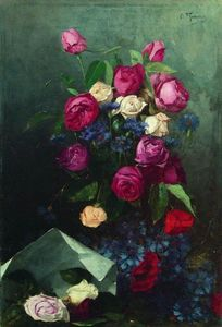 Konstantin Yegorovich Makovsky - Still Life with Roses and Knapweeds