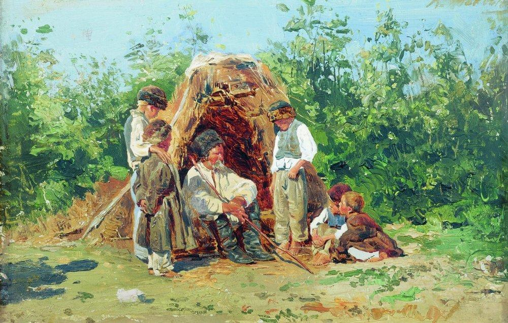 Grandfather Stories, 1881 by Konstantin Yegorovich Makovsky (1839-1915, Russia)
