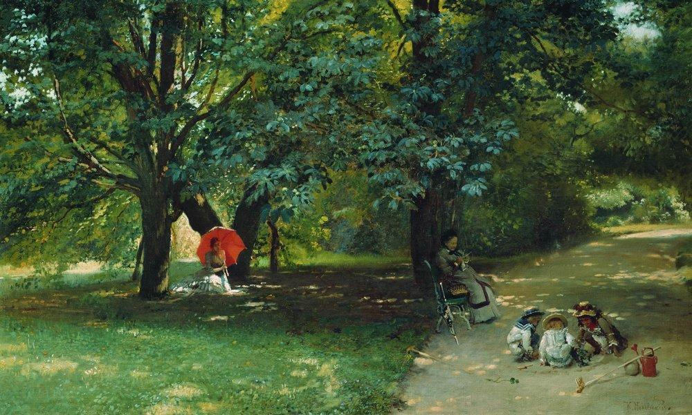 In the Park, 1881 by Konstantin Yegorovich Makovsky (1839-1915, Russia)