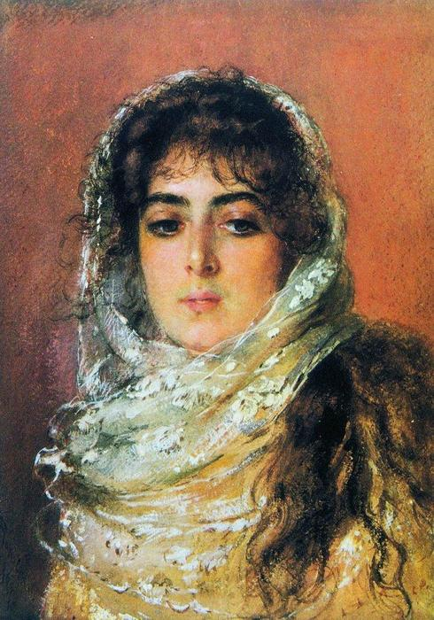 Portrait of Artist's Wife, 1887 by Konstantin Yegorovich Makovsky (1839-1915, Russia)