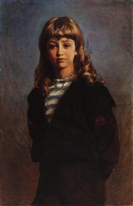 Serezha (Portrait of Son in Sailor Suit), 1887 by Konstantin Makovsky (1839-1915, Russia)
