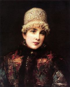 Konstantin Yegorovich Makovsky - Russian Beauty in Kokoshnik