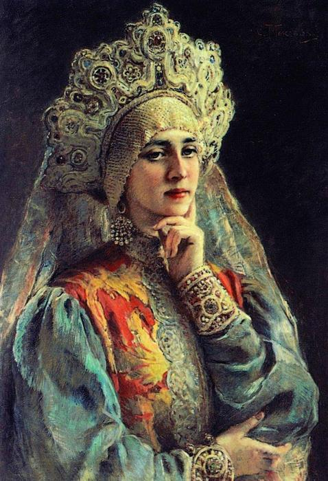 Russian Beauty, 1900 by Konstantin Yegorovich Makovsky (1839-1915, Russia)
