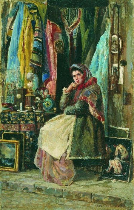 Antique Shop by Konstantin Yegorovich Makovsky (1839-1915, Russia)