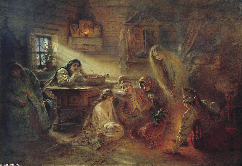Christmas Fortune Telling, Oil On Canvas by Konstantin Makovsky (1839-1915, Russia)