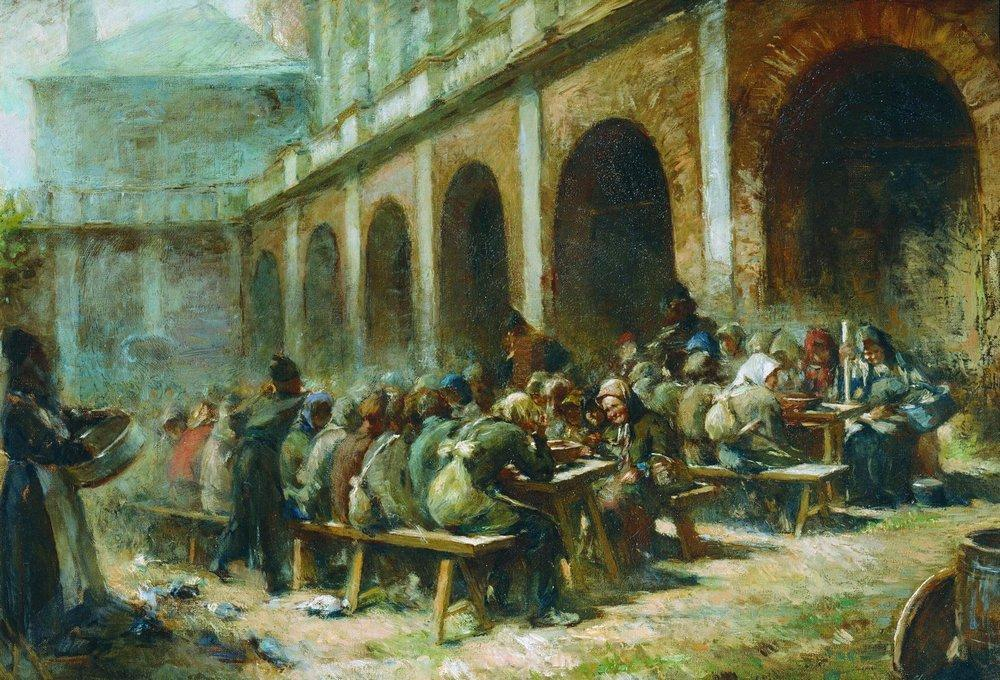 Meal of pilgrims in the Trinity Lavra of St. Sergius by Konstantin Yegorovich Makovsky (1839-1915, Russia) | Painting Copy | ArtsDot.com