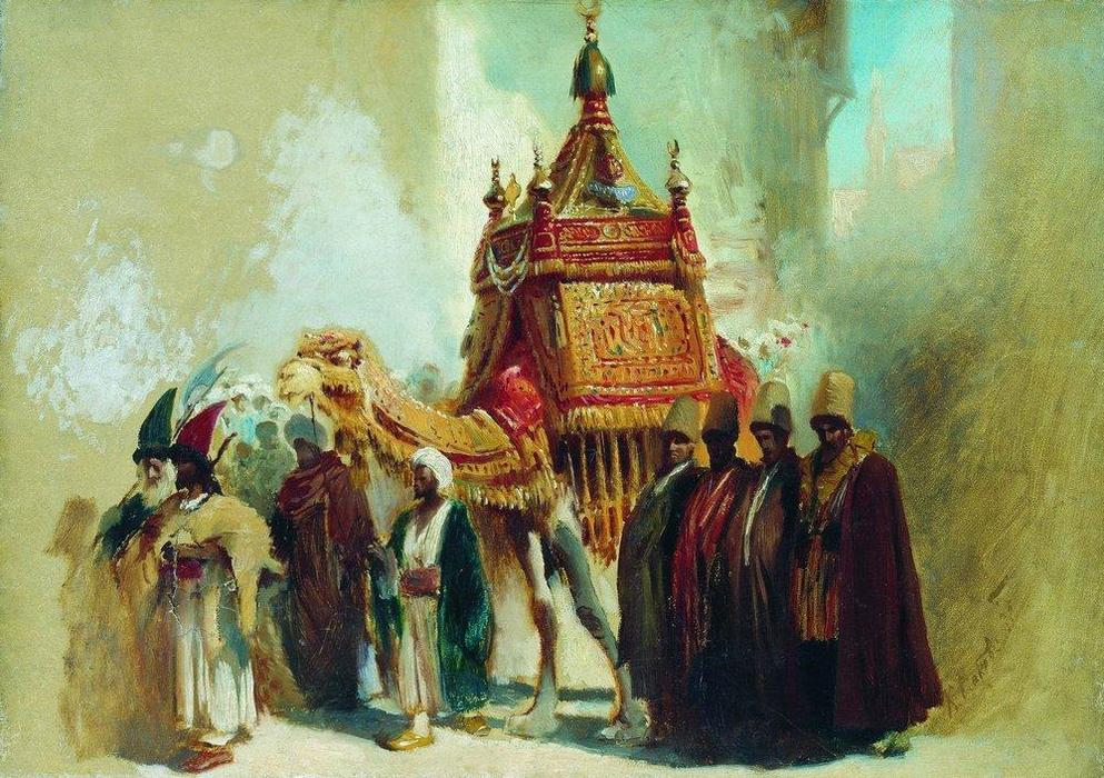 The transfer of the sacred carpet from Mecca to Cairo by Konstantin Yegorovich Makovsky (1839-1915, Russia)