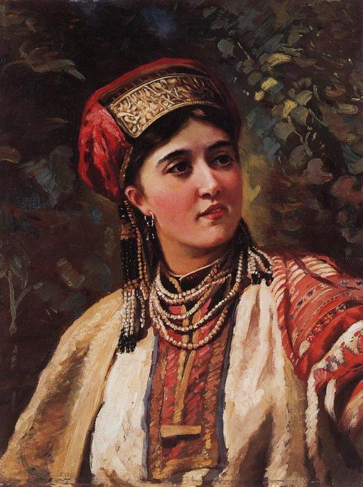 Woman in a national costume by Konstantin Makovsky (1839-1915, Russia)