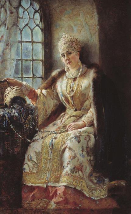 Boyar's Wife at the Window, Oil On Canvas by Konstantin Yegorovich Makovsky  (order Fine Art painting copy Konstantin Yegorovich Makovsky)