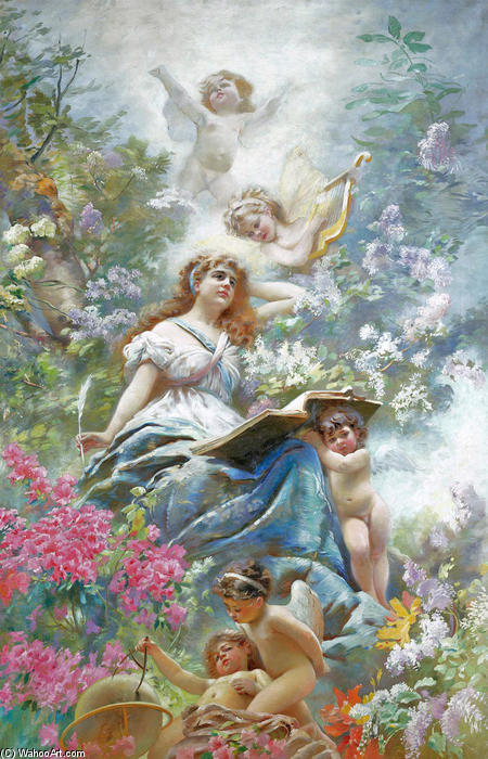 The Muse of Poesie, Oil On Canvas by Konstantin Yegorovich Makovsky (1839-1915, Russia)