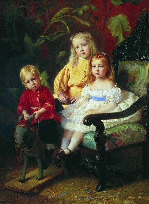 Portrait of Children Stasovy, 1870 by Konstantin Yegorovich Makovsky (1839-1915, Russia)