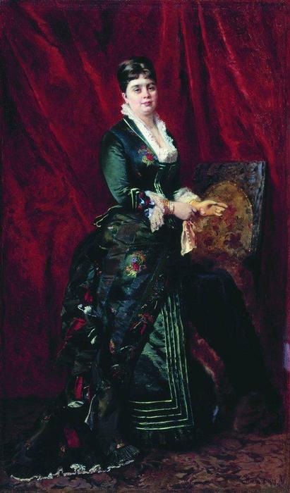 Portrait of the Young Lady with Green Dress, 1879 by Konstantin Yegorovich Makovsky (1839-1915, Russia)