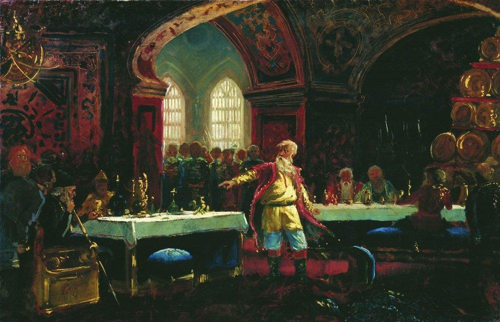 Prince Repin at the Banquet of Ivan the Terrible, 1880 by Konstantin Yegorovich Makovsky (1839-1915, Russia)
