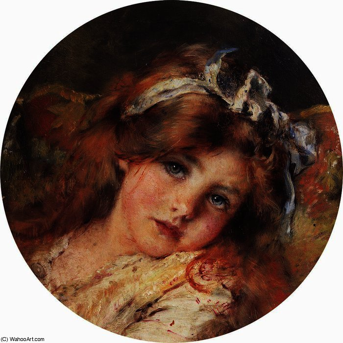 Child Head, 1890 by Konstantin Yegorovich Makovsky (1839-1915, Russia)