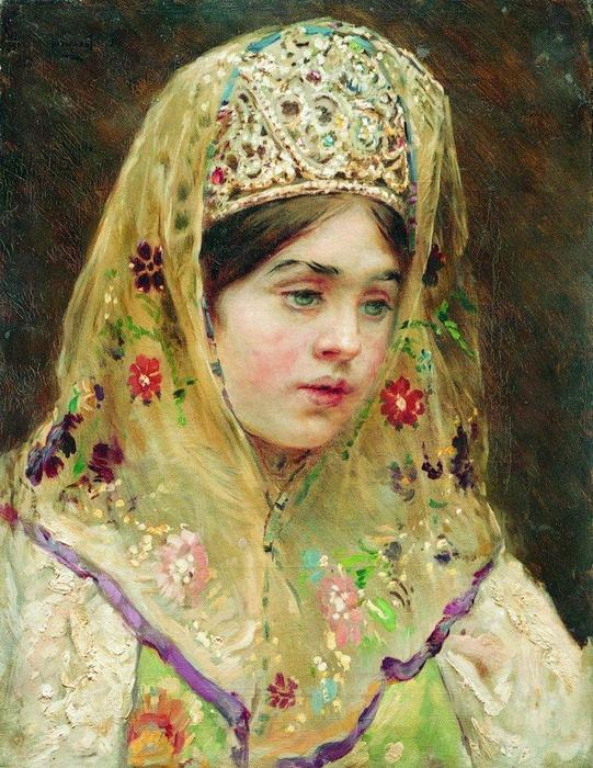 Portrait of the Girl in a Russian Dress, 1910 by Konstantin Yegorovich Makovsky (1839-1915, Russia)