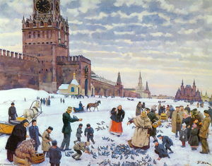 Konstantin Yuon - Feeding pigeons in Red Square in the years 1890-1900
