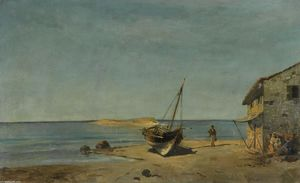Konstantinos Volanakis - The fisherman-s home on the beach