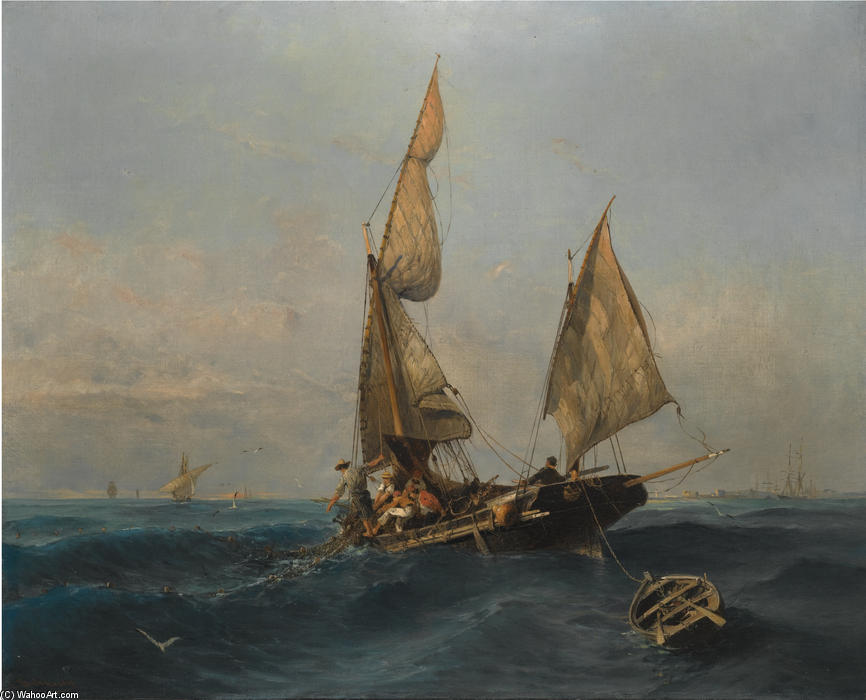 Fishing boat in choppy waters by Konstantinos Volanakis (1837-1907, Greece) | Painting Copy | ArtsDot.com