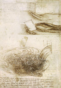 Leonardo Da Vinci - Studies of Water passing Obstacles and falling