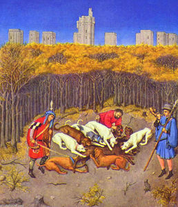Limbourg Brothers - Fascimile of December: Hunting Wild Boar