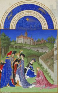 Limbourg Brothers - April: Courtly Figures in the Castle Grounds