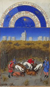 Limbourg Brothers - Facsimile of December: Hunting Wild Boar