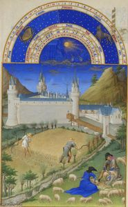 Limbourg Brothers - Fascimile of July: Harvesting and Sheep Shearing