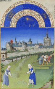 Limbourg Brothers - Fascimile of June: Haymaking