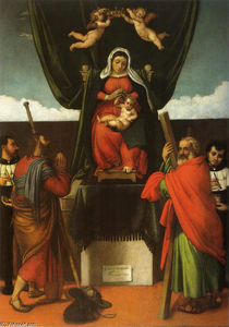 Lorenzo Lotto - Madonna and Child Enthroned with Four Saints