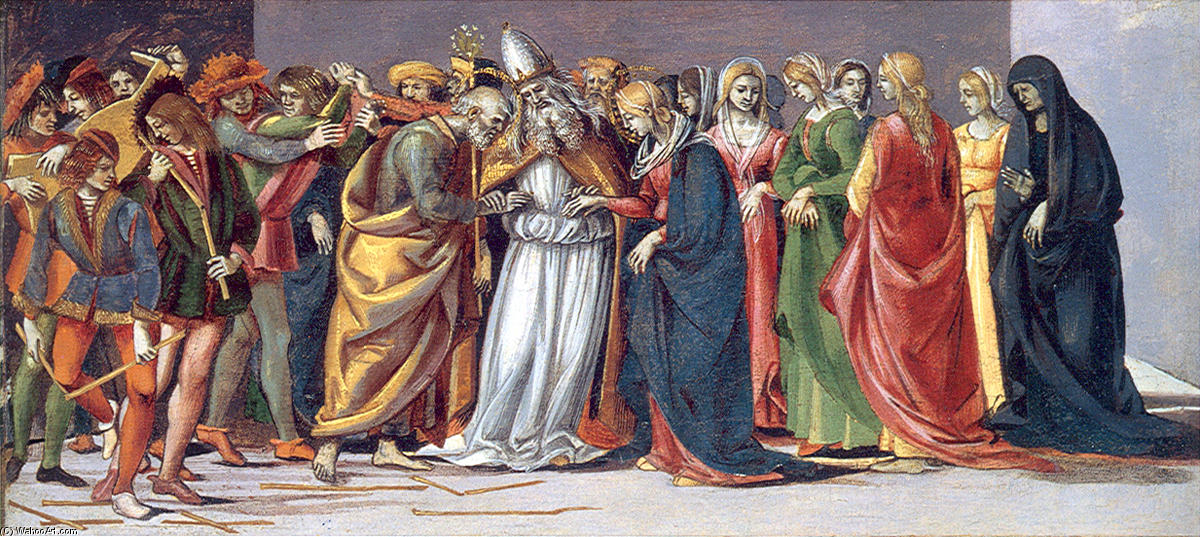 Marriage of the Virgin, Oil On Panel by Luca Signorelli (1450-1523, Italy)
