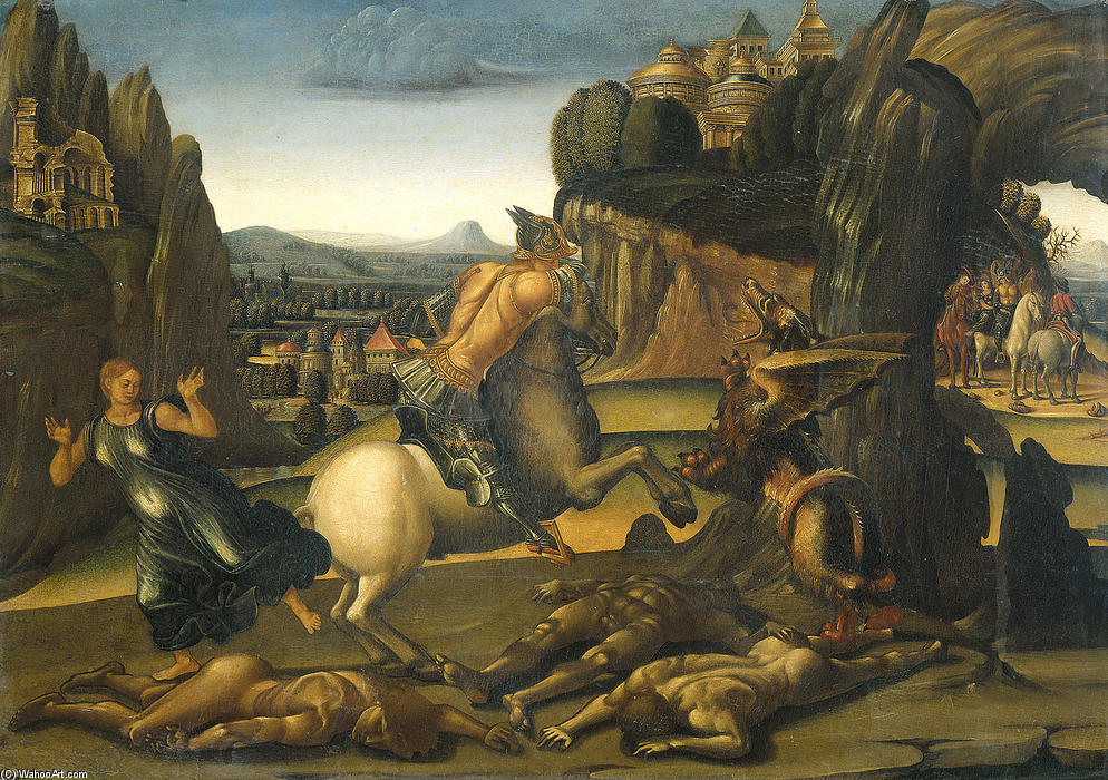 Saint George and the Dragon, Oil On Panel by Luca Signorelli (1450-1523, Italy)