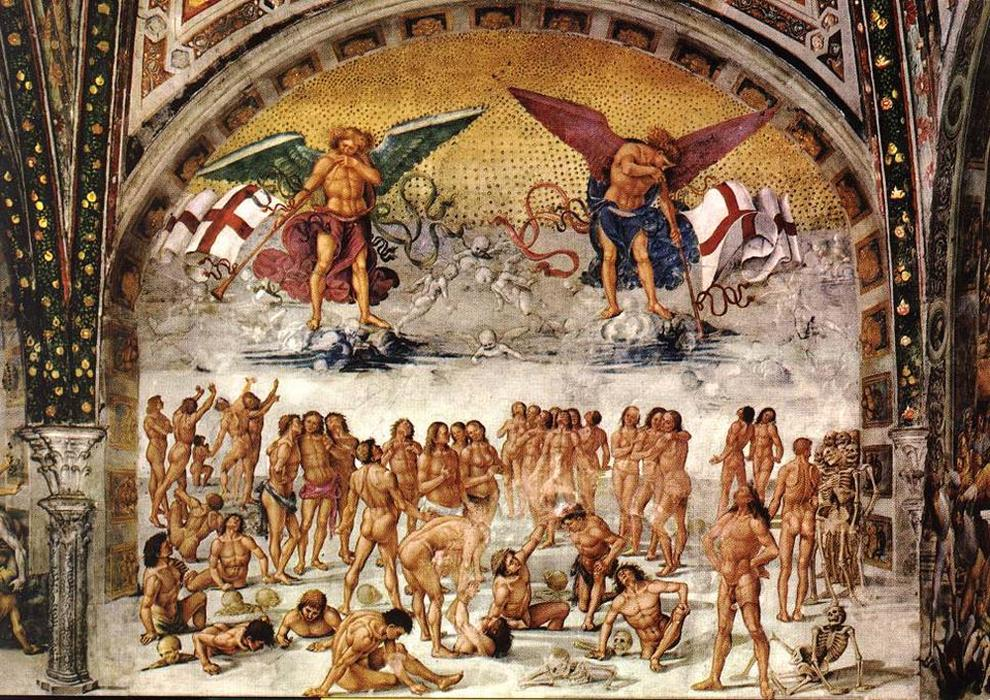 Resurrection of the Dead, Frescoes by Luca Signorelli (1445-1523, Italy)