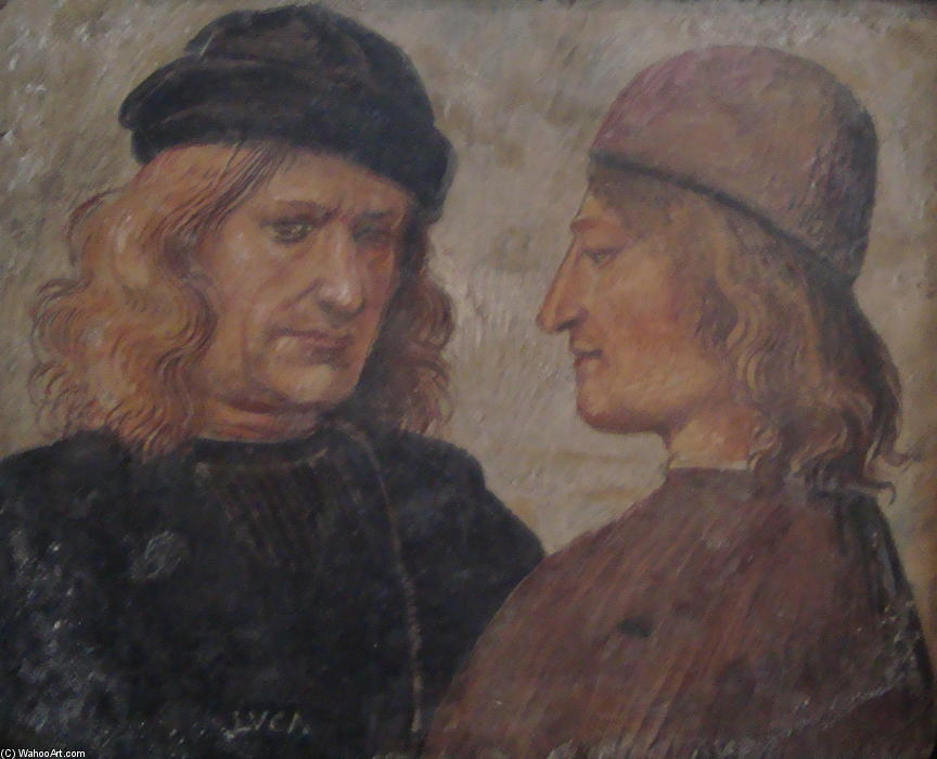 Self-portrait of Luca Signorelli (left), Frescoes by Luca Signorelli (1450-1523, Italy)