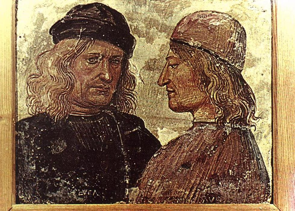 Self-portrait with Vitelozzo Vitelli, 1503 by Luca Signorelli (1445-1523, Italy)