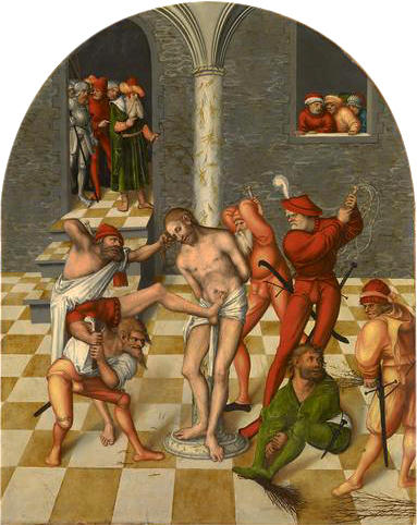 Flagellation of Christ, Oil by Lucas Cranach The Elder (1472-1553, Germany)