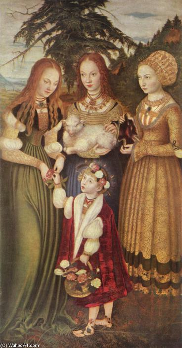 Saints Dorothea, Agnes and Kunigunde, Oil by Lucas Cranach The Elder (1472-1553, Germany)