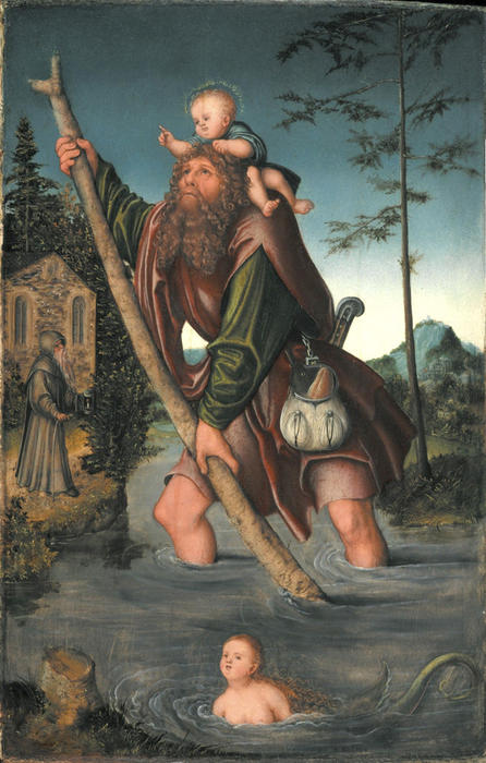 Saint Christopher, Oil On Panel by Lucas Cranach The Elder (1472-1553, Germany)