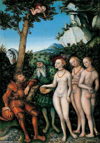 The Judgment of Paris, Oil On Panel by Lucas Cranach The Elder (1472-1553, Germany)