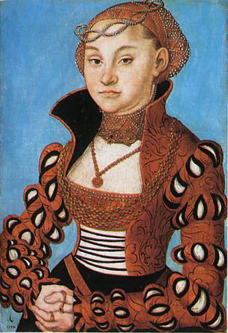 Portrait of a Saxon noblewoman, Oil On Panel by Lucas Cranach The Elder (1472-1553, Germany)